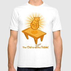 The Cat is over the Table Mens Fitted Tee White SMALL