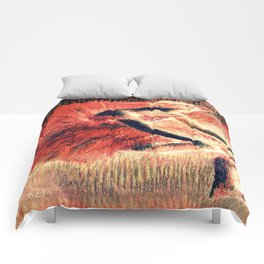 the dancer coral red Comforters