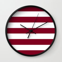 Oxblood - solid color - white stripes pattern Wall Clock