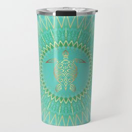 Turquoise Gold Mandala Turtle Travel Mug
