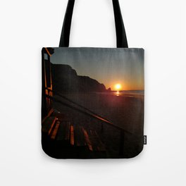 Shack by the sea at sunrise Tote Bag