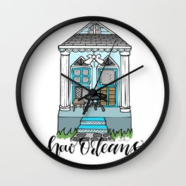 New Orleans Shotgun House - Blue Wall Clock
