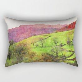 Green Grasmere Hillside, Ambleside, Lake District UK Rectangular Pillow