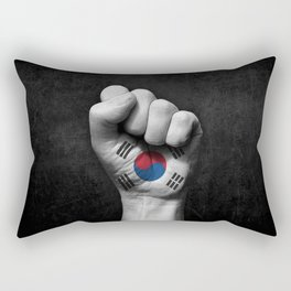 South Korean Flag on a Raised Clenched Fist Rectangular Pillow