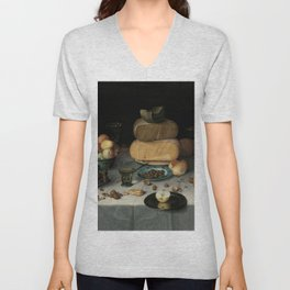 Still Life with Cheese, grapes, wine, bread and more. Finest art from the 17th century. Unisex V-Neck