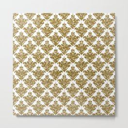 Faux White and Gold Glitter Small Damask Metal Print