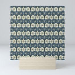 Blue Floral Japanese Pattern Mini Art Print