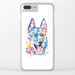 German Shepherd Watercolor Pet Portrait Painting Clear iPhone Case