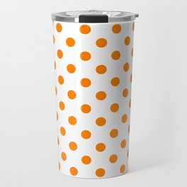 Small Polka Dots - Orange on White Travel Mug