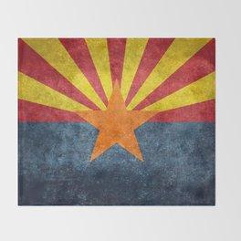 State flag of Arizona in Vintage Grunge Throw Blanket