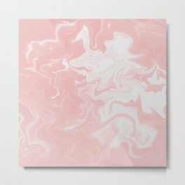 Pink, White, Marble. Metal Print