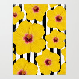 Summer Hibiscus Fun on Black & White Stripes Poster