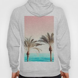 Modern California Vibes pink sky blue seascape tropical palm tree beach photography Hoody