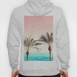 Modern California Vibes pink sky blue seascape tropical palm tree beach photography Hoody