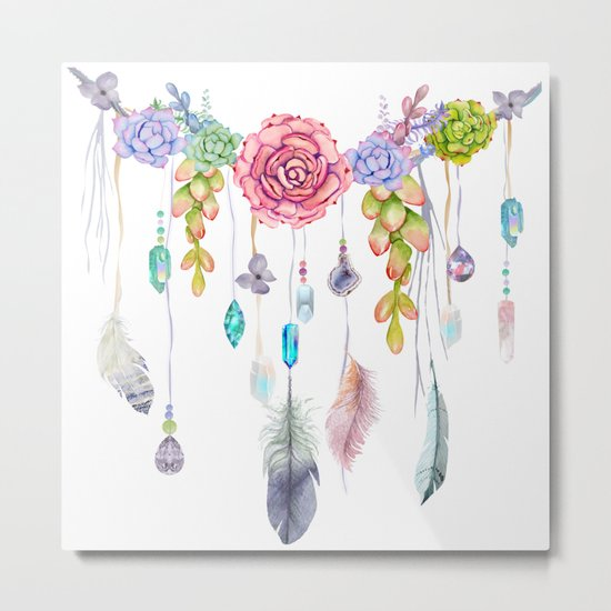 Spirit Gazer With Crystals And Succulents Metal Print