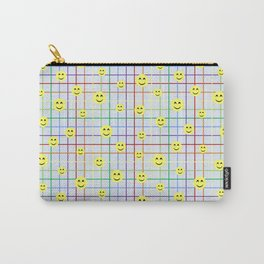 Colorful Smileys 2 - light blue Carry-All Pouch