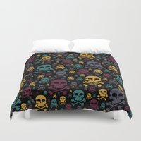 skulls Duvet Covers featuring Skulls by Alice Gosling