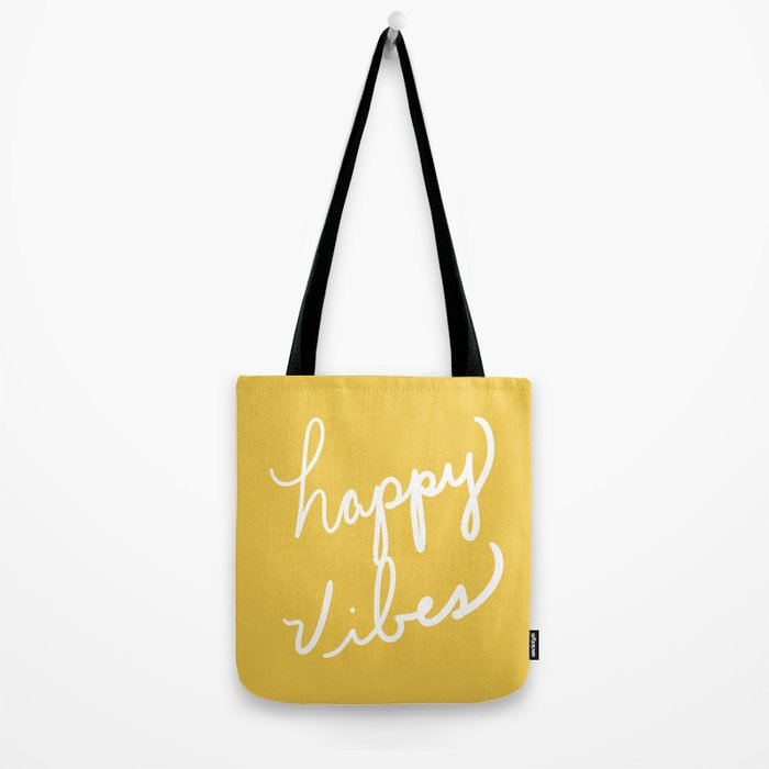 Happy Vibes Yellow Tote Bag