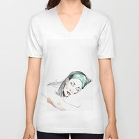 sleeping beauty V-neck T-shirts featuring Sleeping Beauty by Judit Mallol