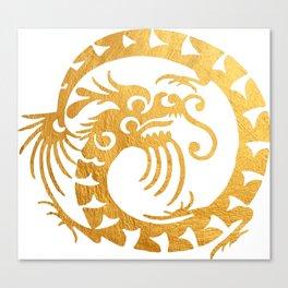 Gold Circular Tribal Dragon Canvas Print