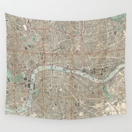 Vintage Map of London England (1862) Wall Tapestry