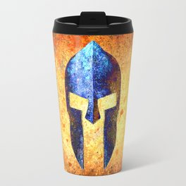 Spartan Helmet On Rust Background With A Blue Filter Effect Travel Mug