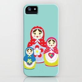 Turquoise babushka , matryoshka , russian doll , nursery decor , children gift, birthday gift iPhone Case