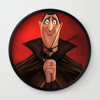 dracula Wall Clocks featuring Dracula by This Is Niniel Illustrator