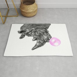Bubble Gum Rhinoceros Black and White Rug