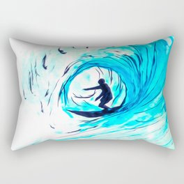 Lone Surfer Tubing the Big Blue Wave Rectangular Pillow