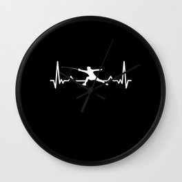 Fencing Saber Heartbeat Line Funny Gift Wall Clock