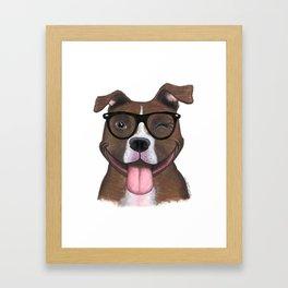 Hipster Pit Bull Framed Art Print