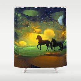 Awakening, Mysterious mixed media art with horses Shower Curtain