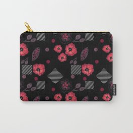 Watercolor . Red poppies .  Black . Carry-All Pouch
