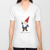 gnome V-neck T-shirts featuring Gnome Love by Ink Tree Press by Erin Rippy