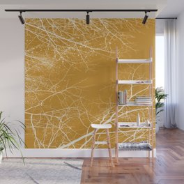 Branches Impressions on Yellow Wall Mural
