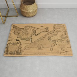Map of Louisbourg 1757 Rug
