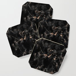 Rose Gold and Black Marble Coaster