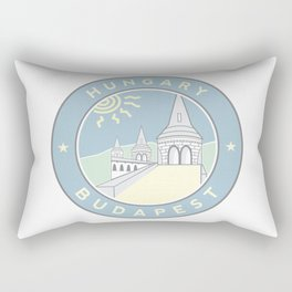 Budapest, Hungary, Fisherman's Bastion, circle blue Rectangular Pillow