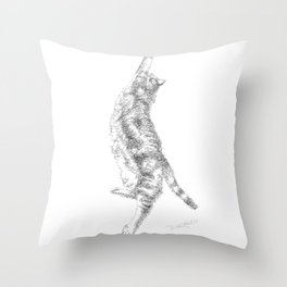 Mocha, the cat - streching Throw Pillow