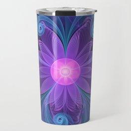 Blown Glass Flower of an ElectricBlue Fractal Iris Travel Mug