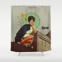 grey Shower Curtains featuring Grey by Frank Moth