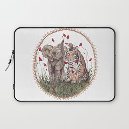 Tiger, Baby Elephant, and Mouse Playing in Poppies Laptop Sleeve