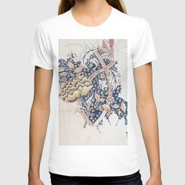 Design for Windrush by William Morris 1883 // Romanticism Blue Red Yellow Color Filled Floral Design T-shirt
