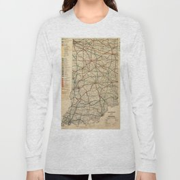Vintage Map of The Indiana Railroad System (1896) Long Sleeve T-shirt