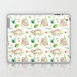 Modern hand painted green brown watercolor tropical floral sloth Laptop & iPad Skin