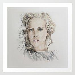 Charlize Theron artwork portrait Art Print
