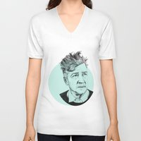 lynch V-neck T-shirts featuring David Lynch by Ruth Hannah