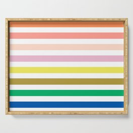 Rainbow stripes colorful decor for kids room nursery boy or girl Serving Tray