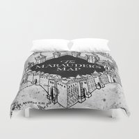 quidditch Duvet Covers featuring Marauders Map by bimorecreative
